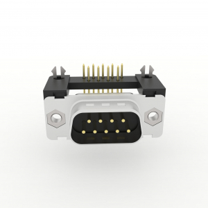 D-Sub Filtersteckverbinder Einlöt abgewinkelt mit Erdungswinkel, Rastnase und Gewinde